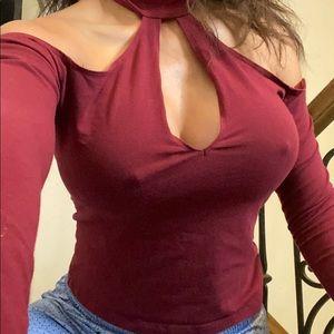 American Apparel burgundy cutout sexy blouse